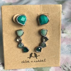 Chloe + Isabel Turquoise Crystal Earrings Climbers